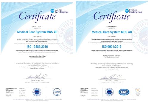Medical Care System MCS AB har nu varit ISO 9001 och ISO 13485 certifierade i 18år!